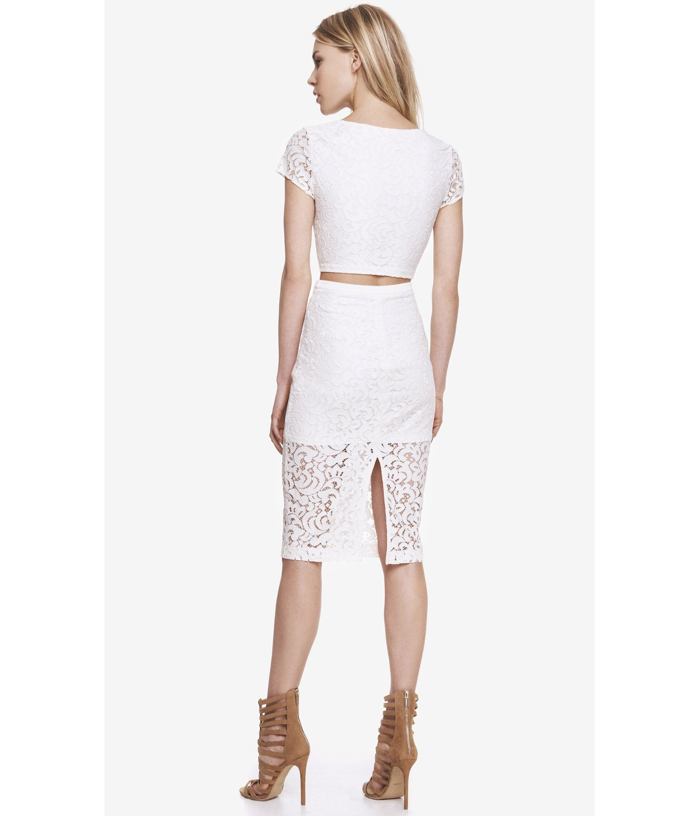 express high waist crocheted lace midi pencil skirt in