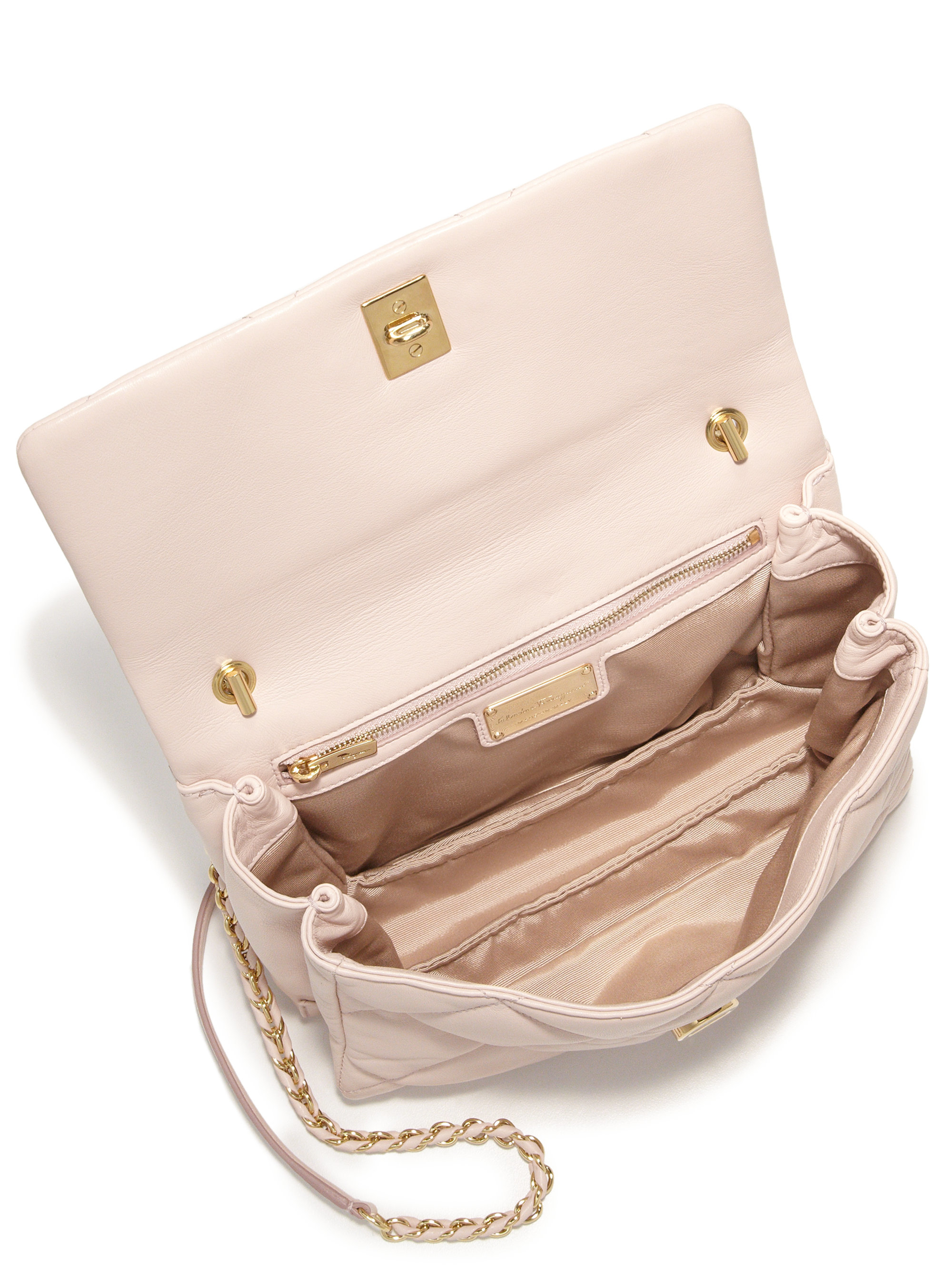 93f8a620b305 Lyst - Ferragamo Gelly Quilted Nappa Leather Shoulder Bag in Natural