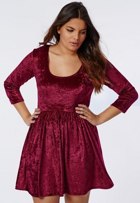 Lyst Missguided Plus Size Crushed Velvet Skater Dress Burgundy In Red