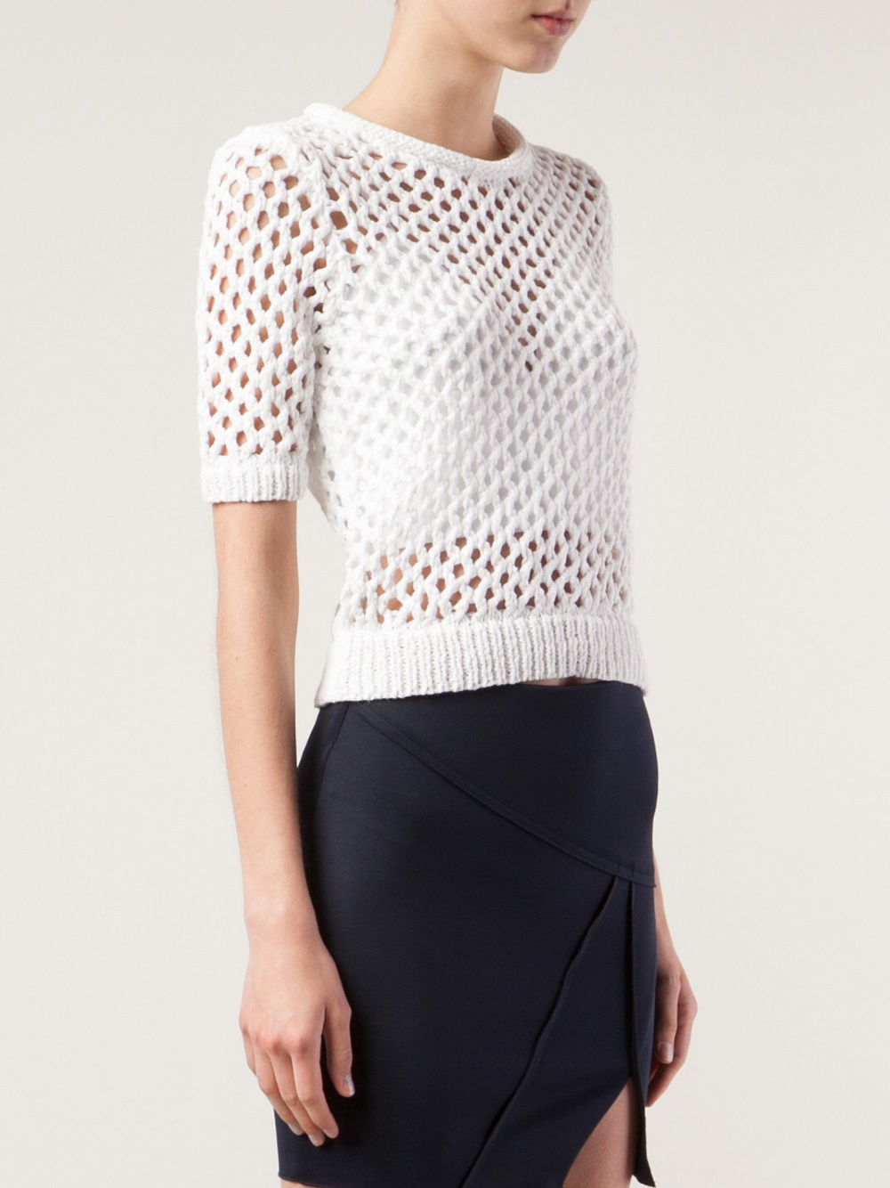 Lyst T By Alexander Wang Open Knit Top In White