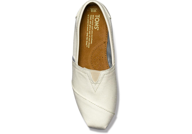 Toms White Glitter Shoes