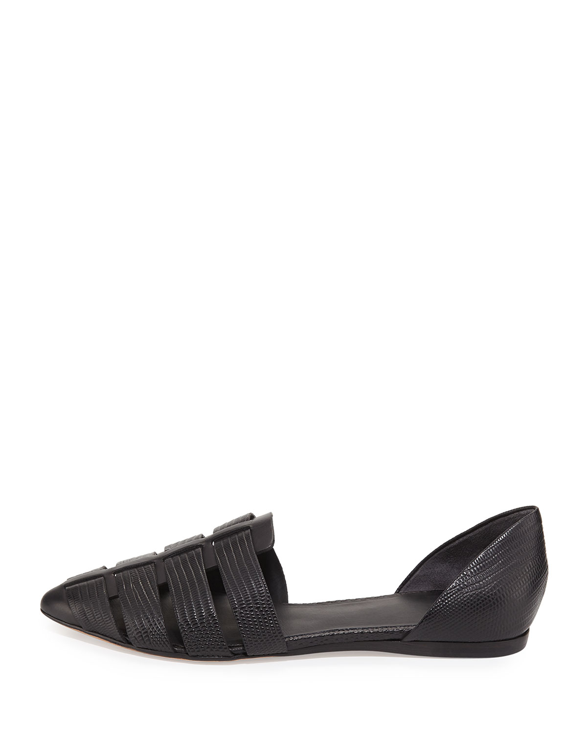 Lyst Vince Neves Embossed Leather Flats In Black