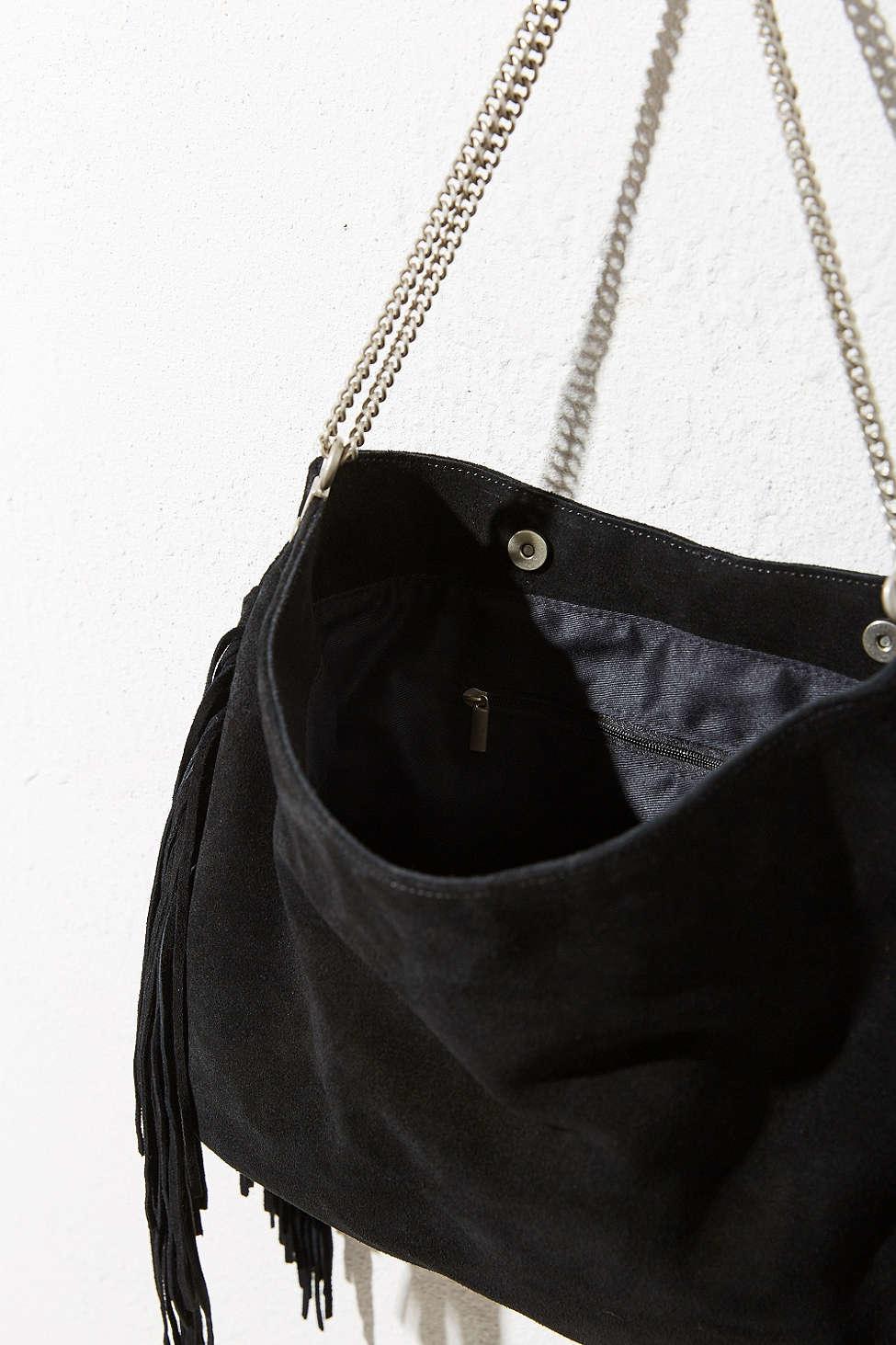 ecote suede fringe shoulder bag in black lyst