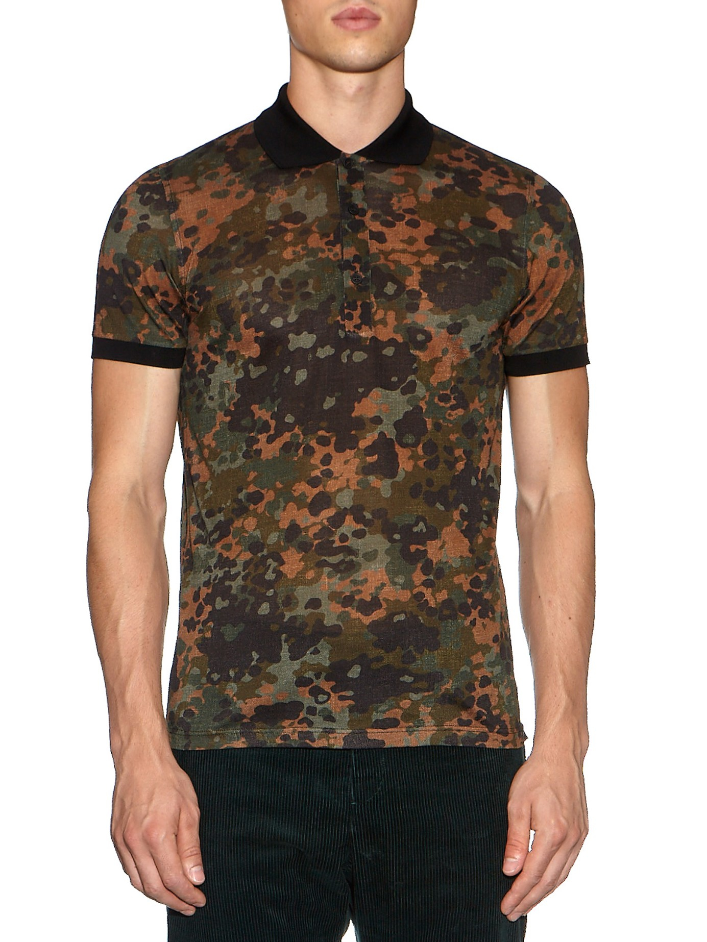 Burberry prorsum camouflage print polo shirt in brown for for Camouflage t shirt design