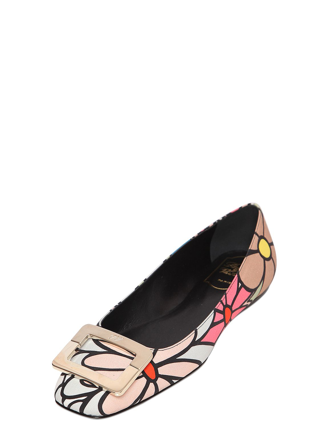 for sale free shipping sale Roger Vivier Printed Canvas Flats eFhjd9