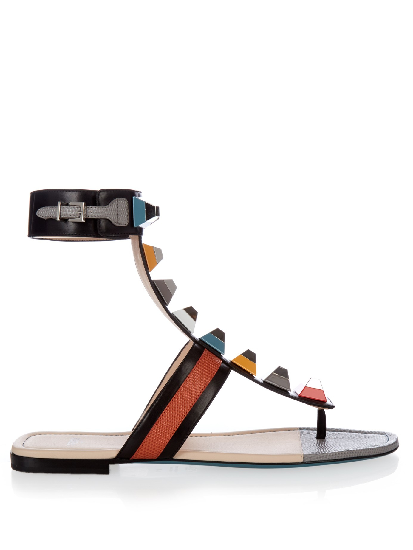 Black rainbow sandals with crystals - Gallery