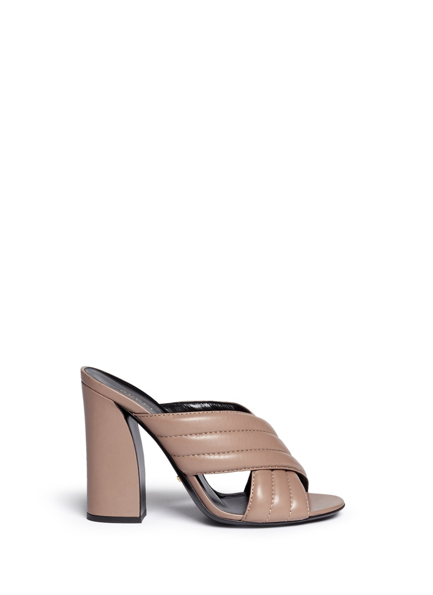 195e7d79d81 Gucci  webby  Ribbed Crisscross Leather Mule Sandals in Natural - Lyst