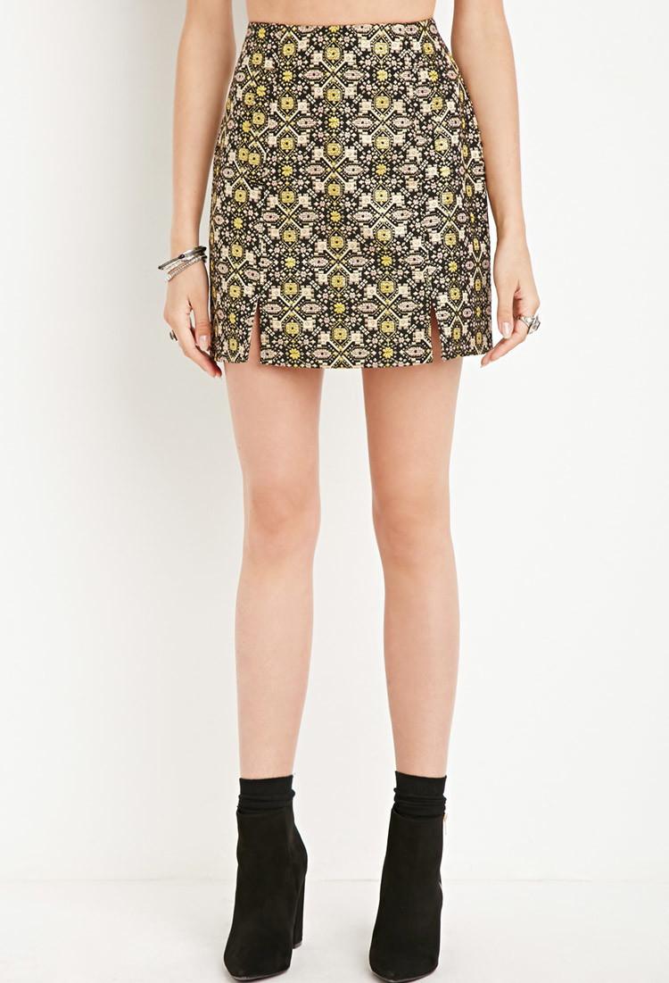 Forever 21 Tile Pattern Mini Skirt in Yellow | Lyst
