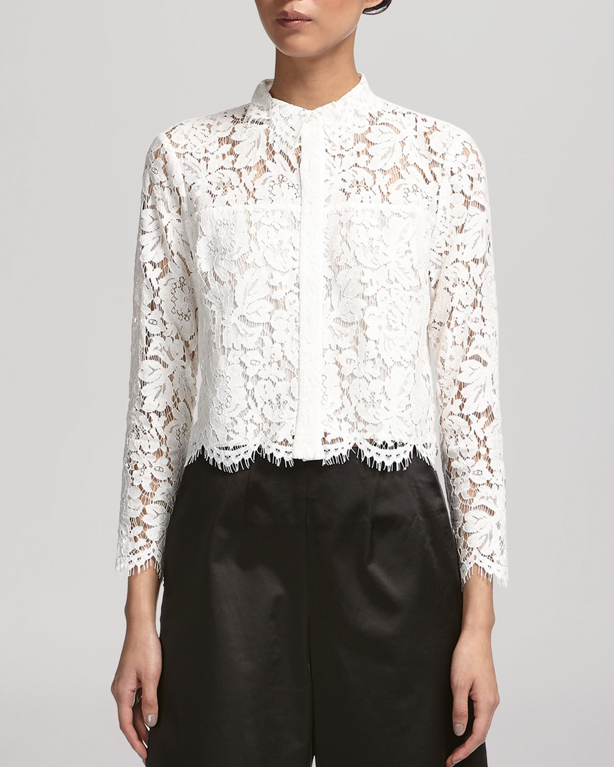 Whistles Chay Lace Shirt In White Lyst