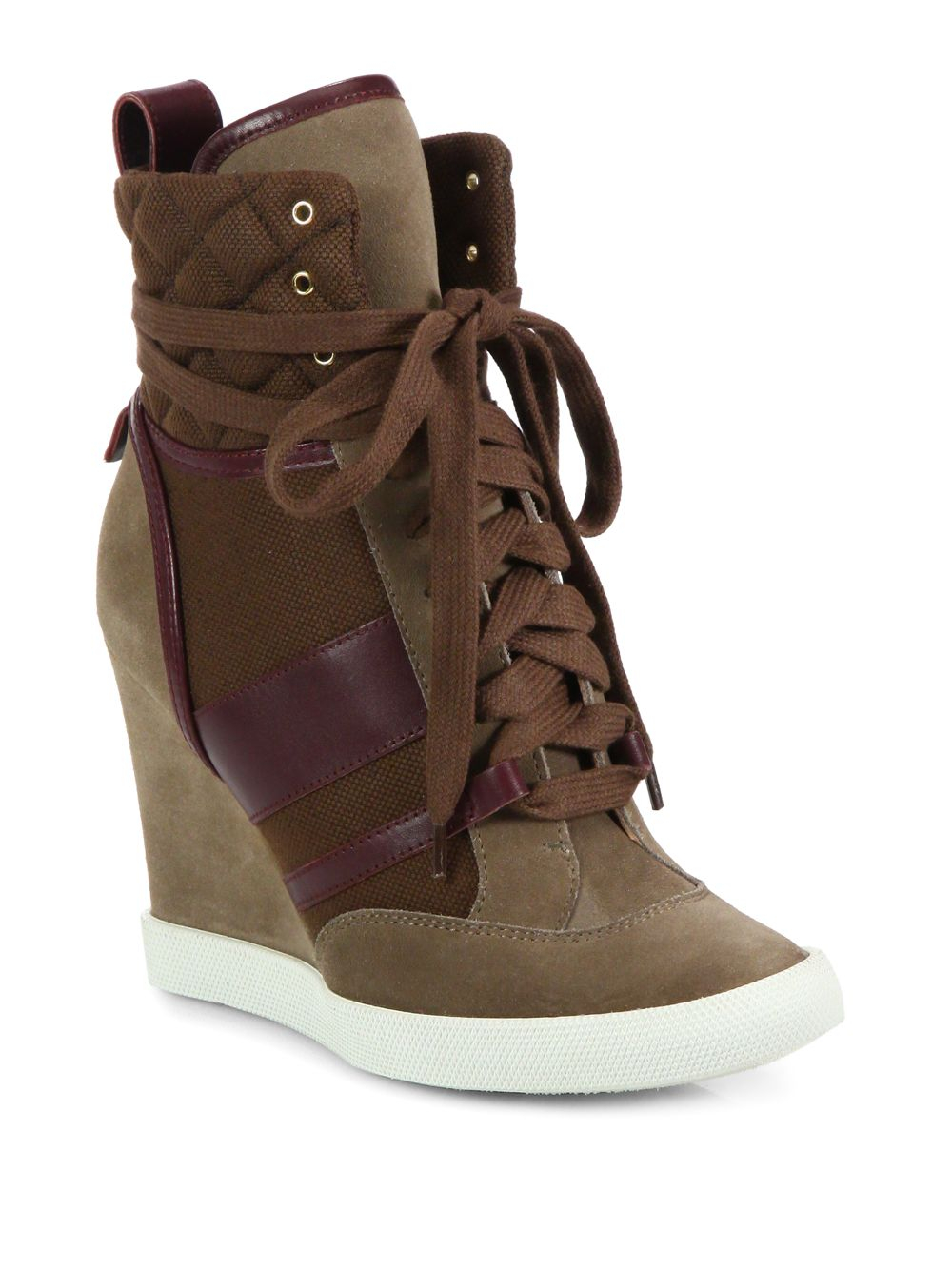 chlo suede lace up wedge sneakers in gray lyst. Black Bedroom Furniture Sets. Home Design Ideas