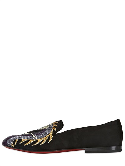 Lyst Kardinale Dragon Embroidered Suede Loafers In Black