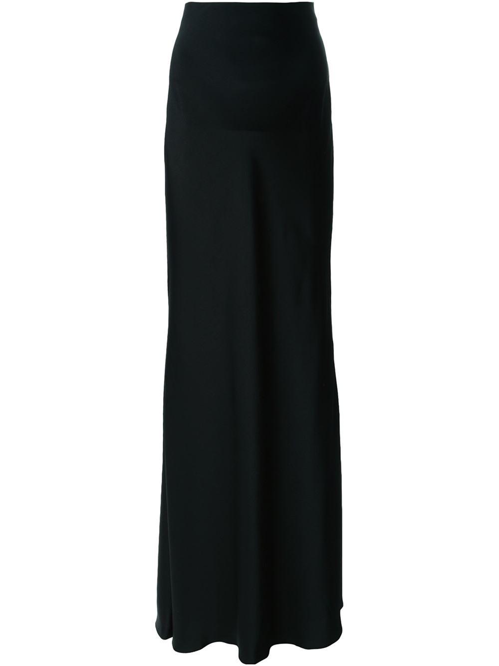 mcqueen black high waisted maxi skirt lyst