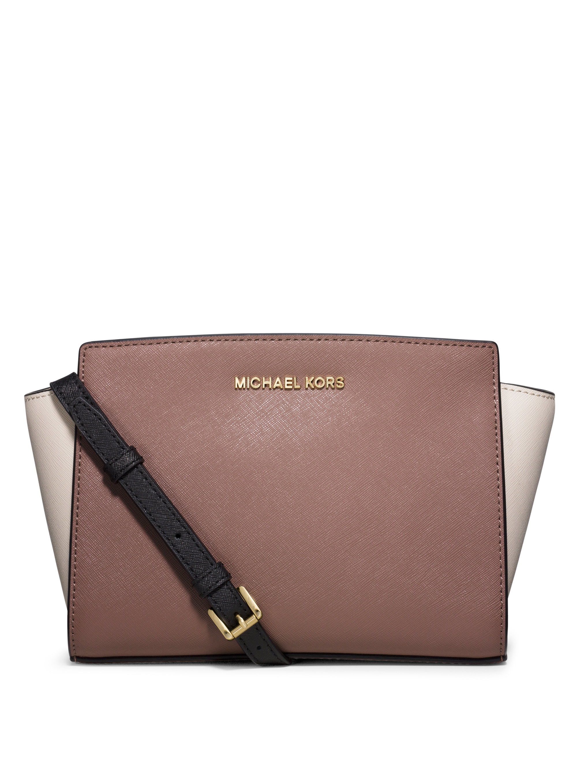 Selma Medium Messenger with Ruffles Bag in Black Saffia Leather Michael Michael Kors