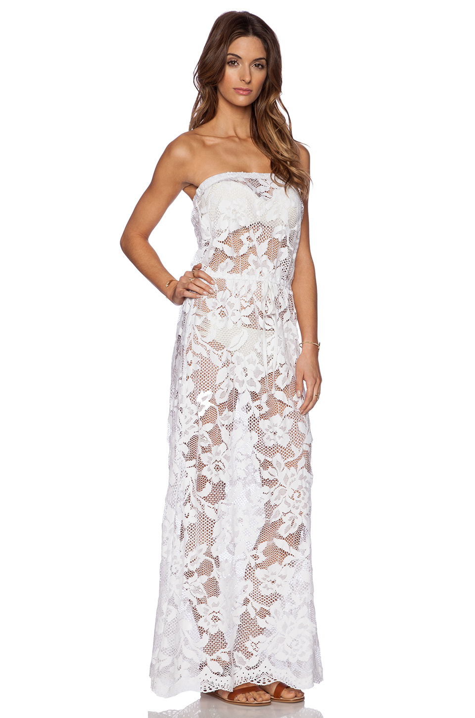 Lyst - Shoshanna White Lace Strapless Maxi Dress in White