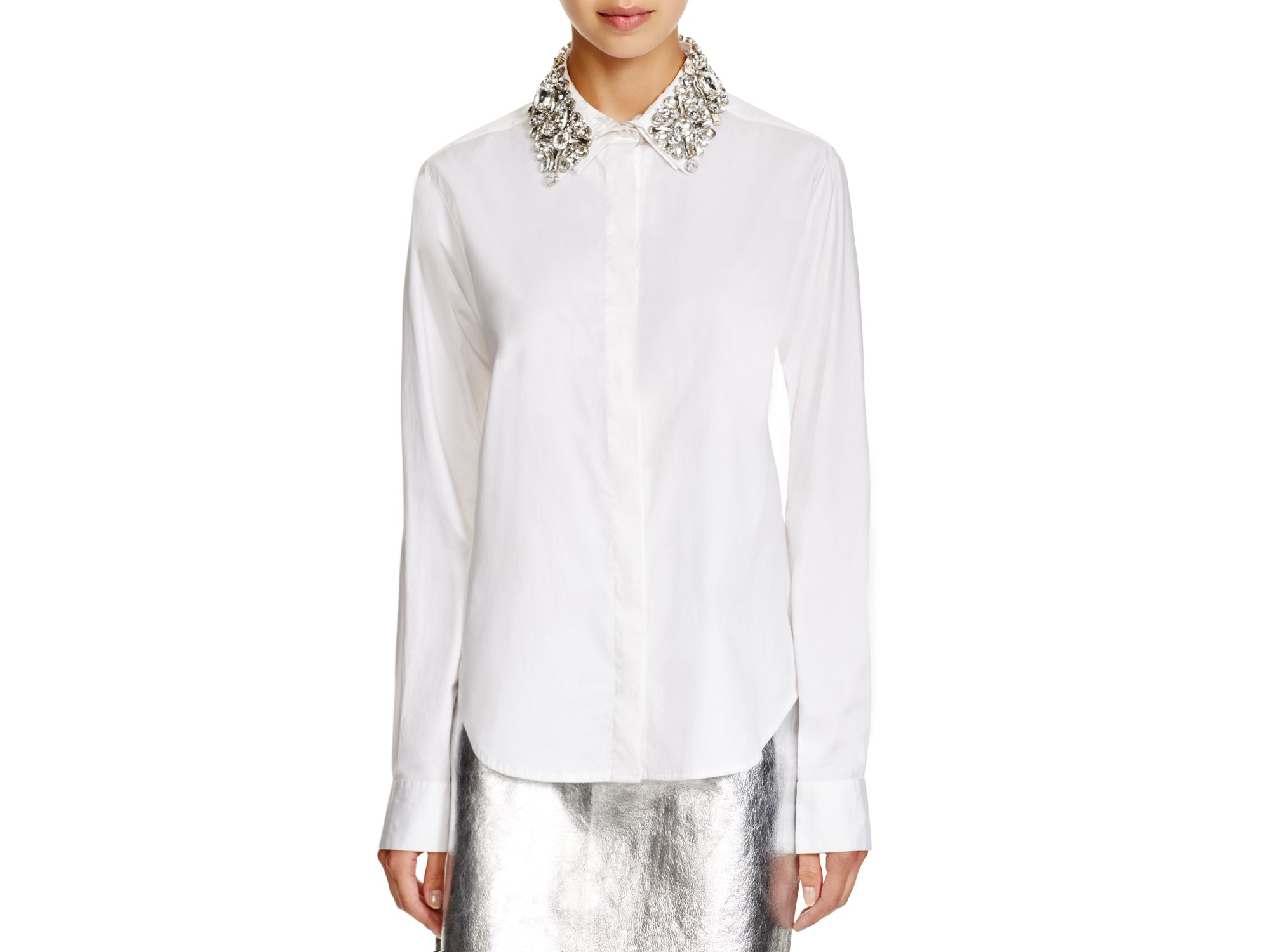 Lyst Dkny Button Down Shirt With Embellished Collar In White