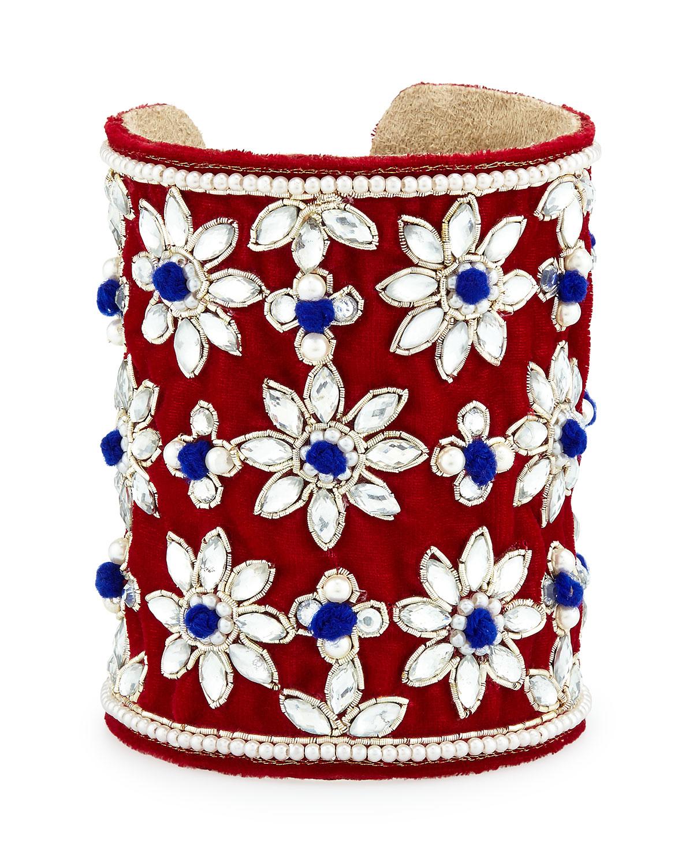 chamak by priya kakkar velvet floral crystal cuff bracelet