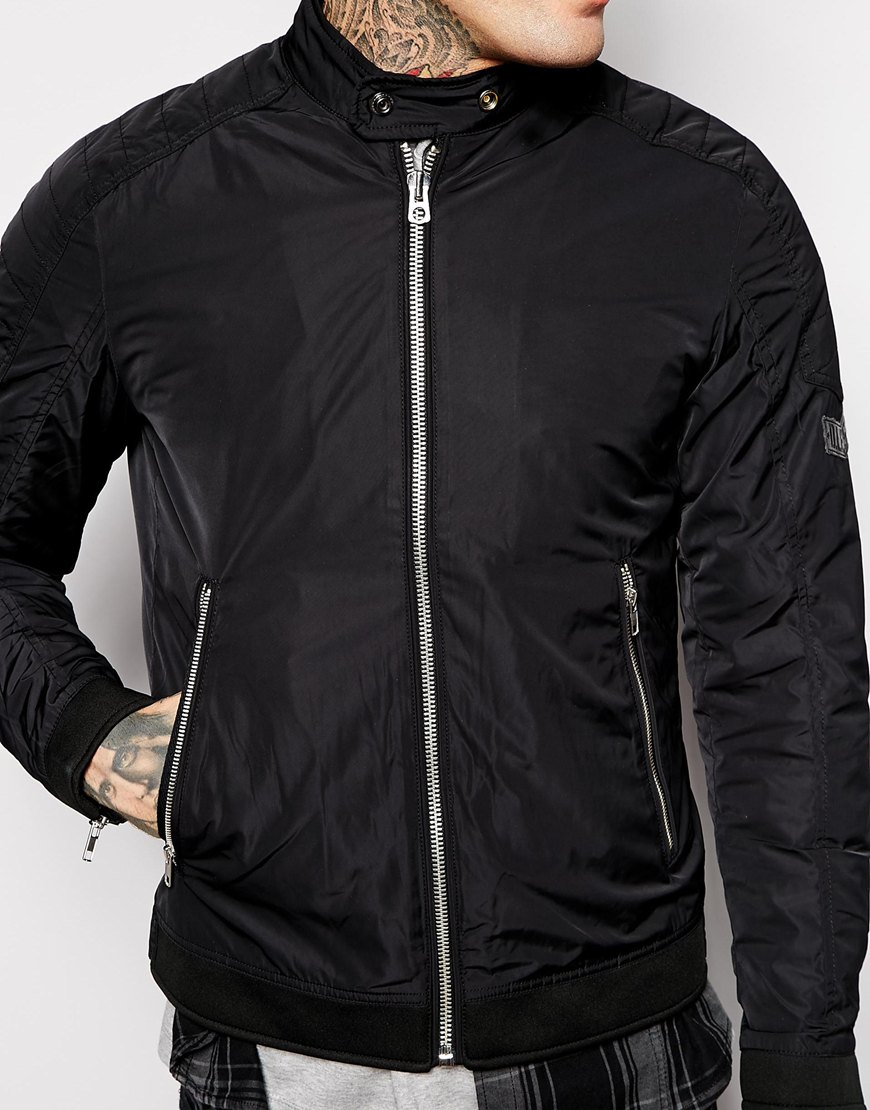 Diesel Jacket J-eiko Lightweight Nylon Biker in Black for Men | Lyst