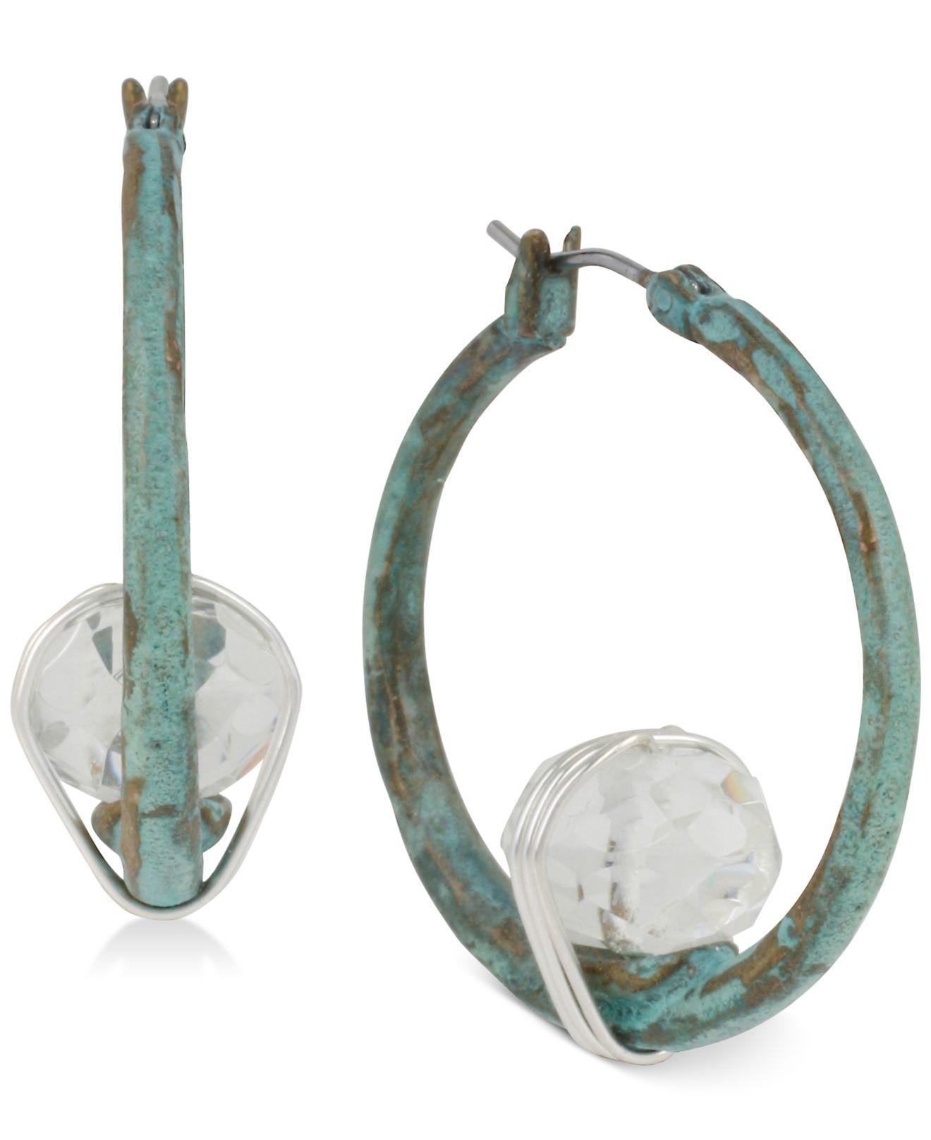 robert lee morris silver tone stone patina hoop earrings
