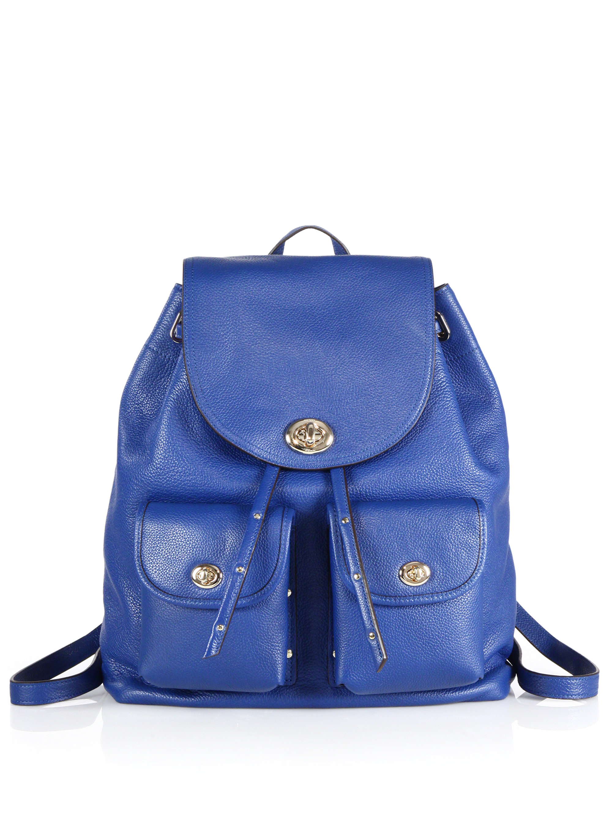 Coach Turnlock Tie Leather Backpack in Blue | Lyst