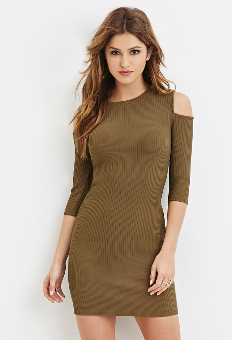 f13d255150 Lyst - Forever 21 Open-shoulder Bodycon Dress in Green