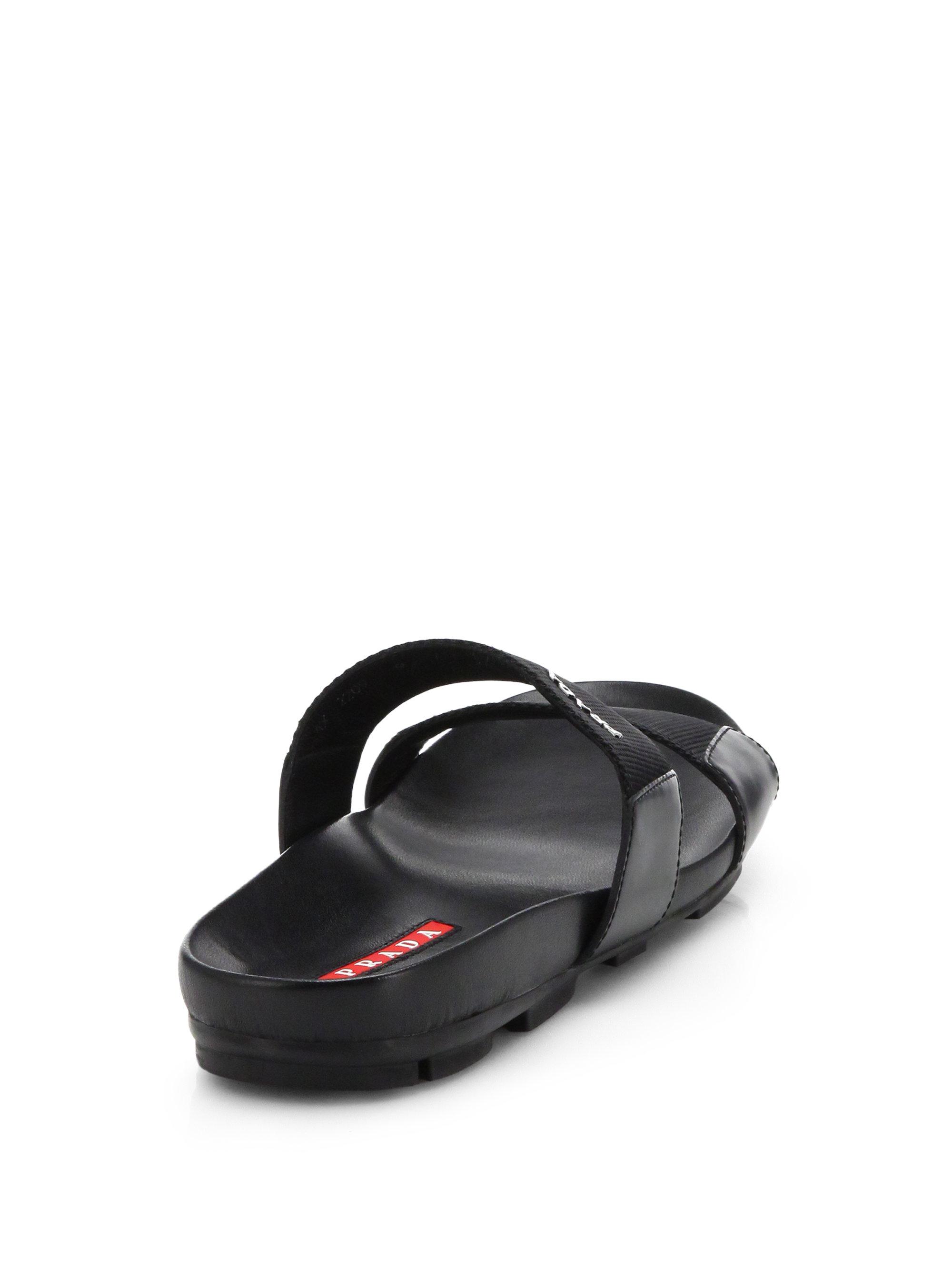 409909062 Lyst - Prada Double-Strap Nylon Sandals in Black for Men