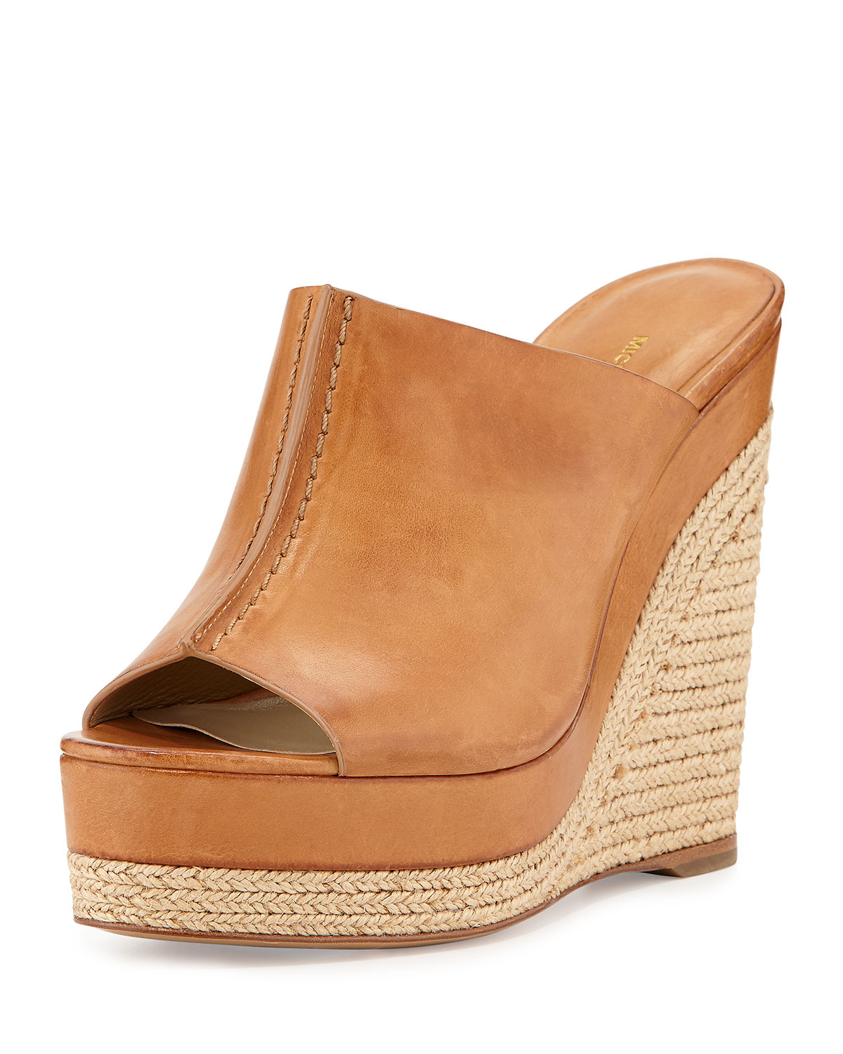 73c55cab47f Lyst - Michael Kors Charlize Leather Wedge Slide Sandal in Brown