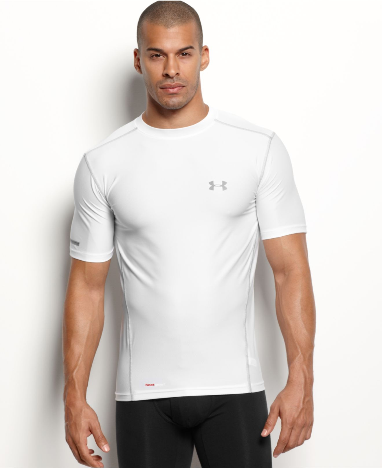 Under armour men 39 s athletic heatgear performance crew neck for Under armour heatgear white shirt