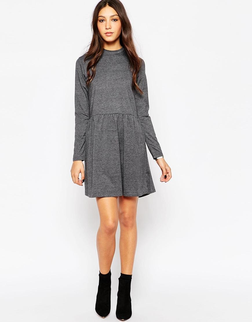 ffc8f950c742 Lyst - Minimum Long Sleeve High Neck Skater Dress in Gray