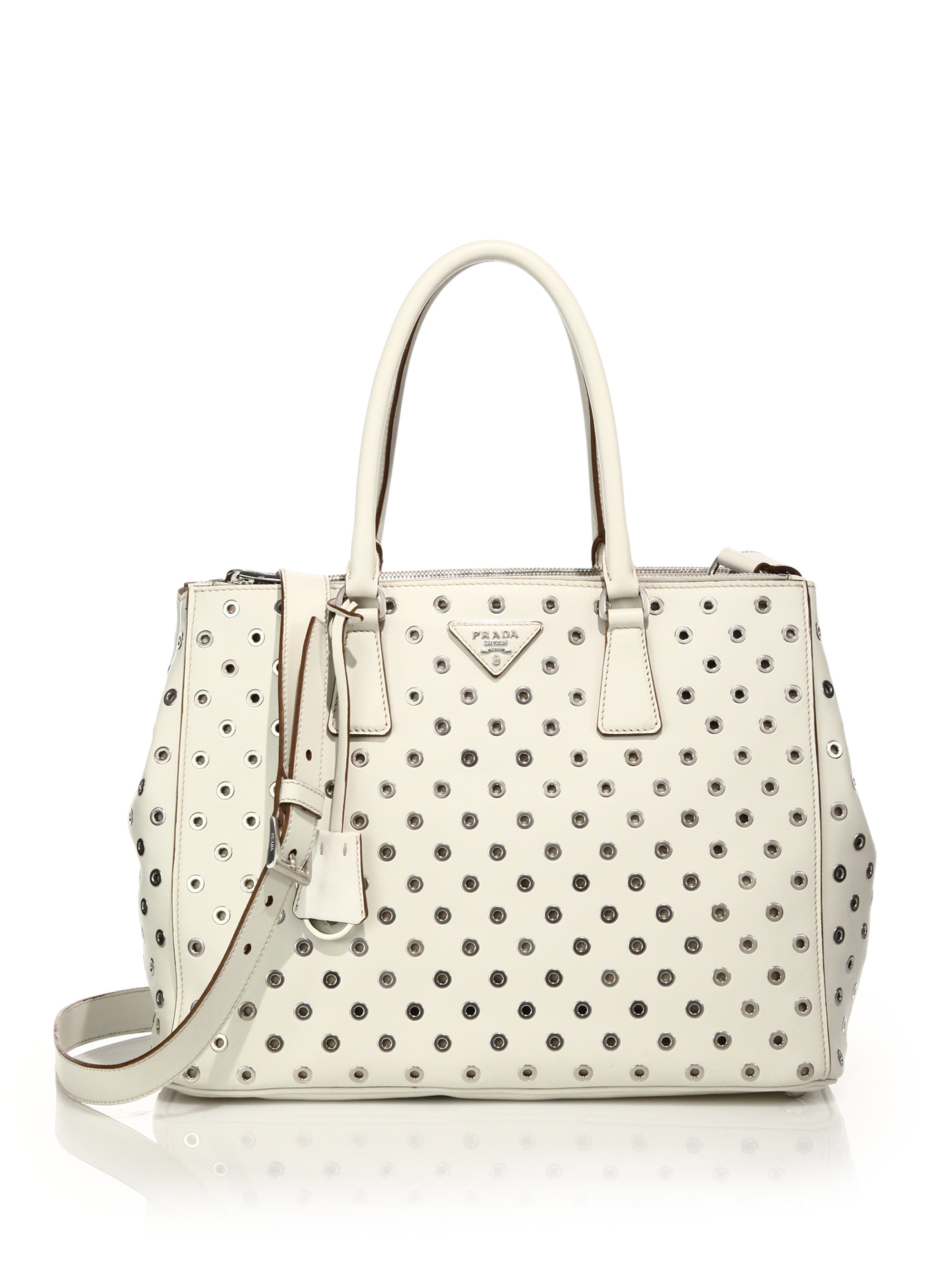 d779b661db ... italy lyst prada city calf double zip tote in natural 61ad0 84eb3