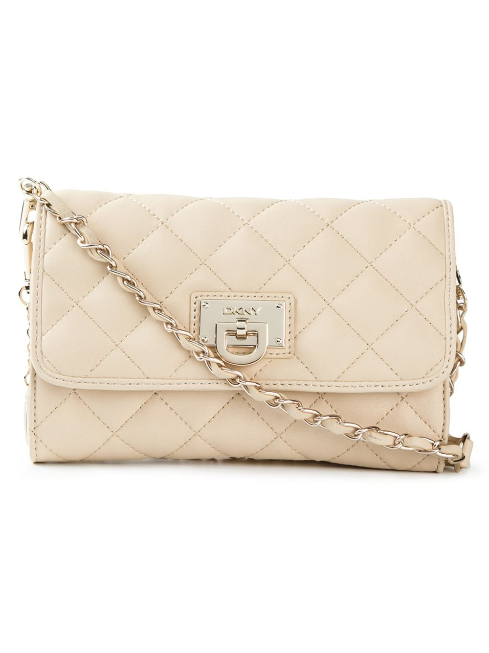 14c027cee3b DKNY Quilted Crossbody Bag in Natural - Lyst