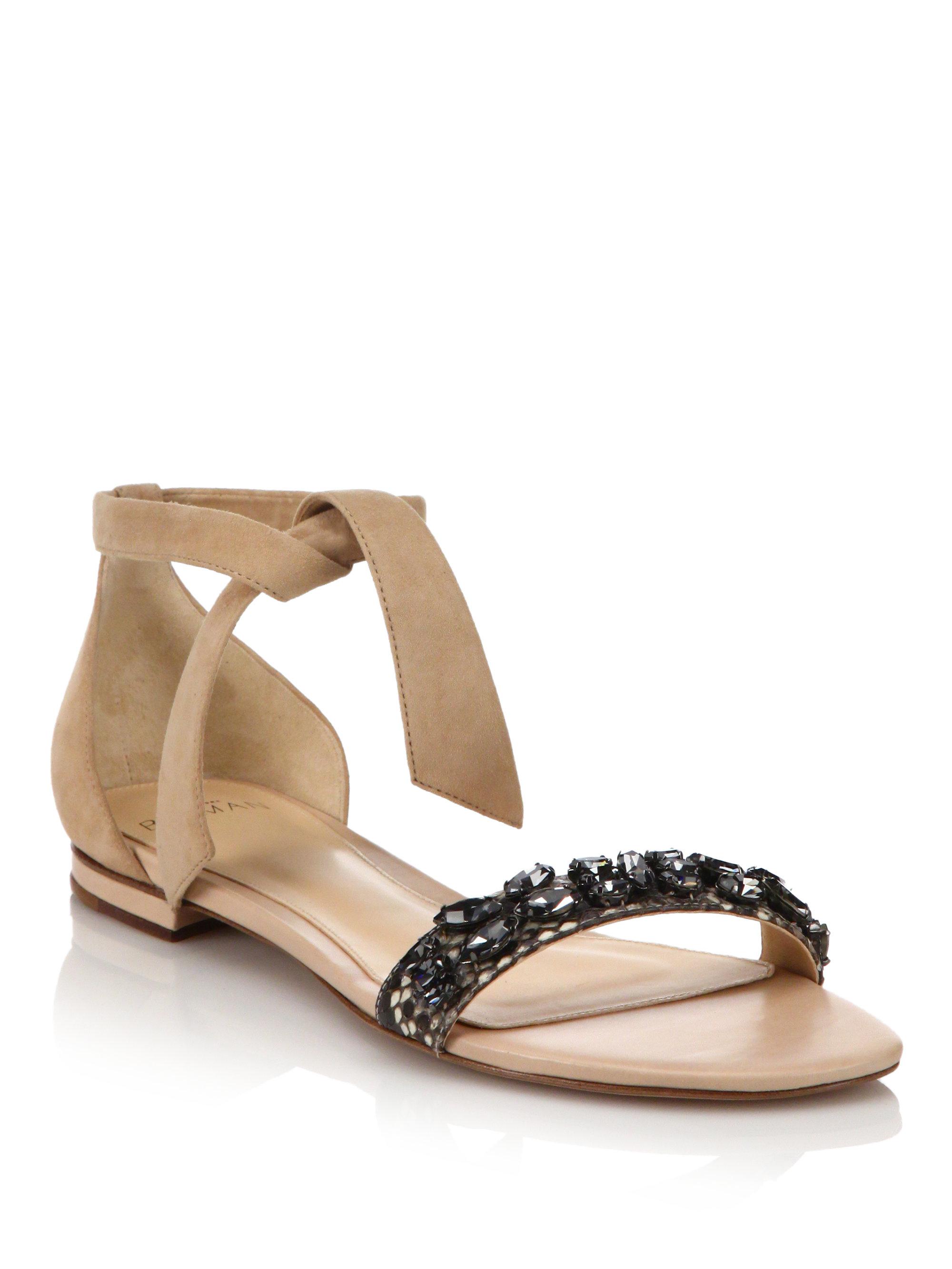 Alexandre Birman Clarita Jeweled Suede U0026 Python Flat Sandals In Black | Lyst