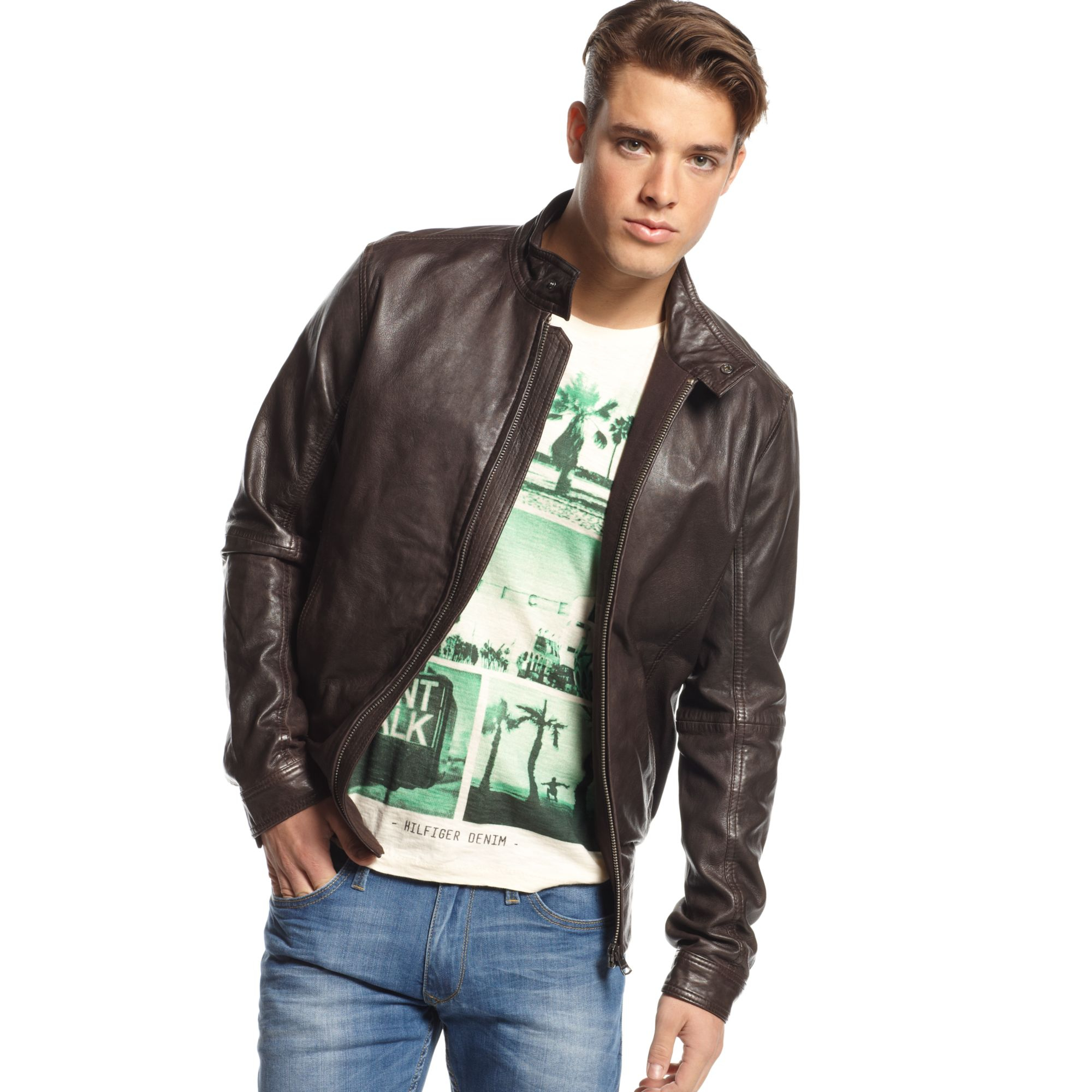 Lyst Tommy Hilfiger Leather Moto Jacket In Brown For Men