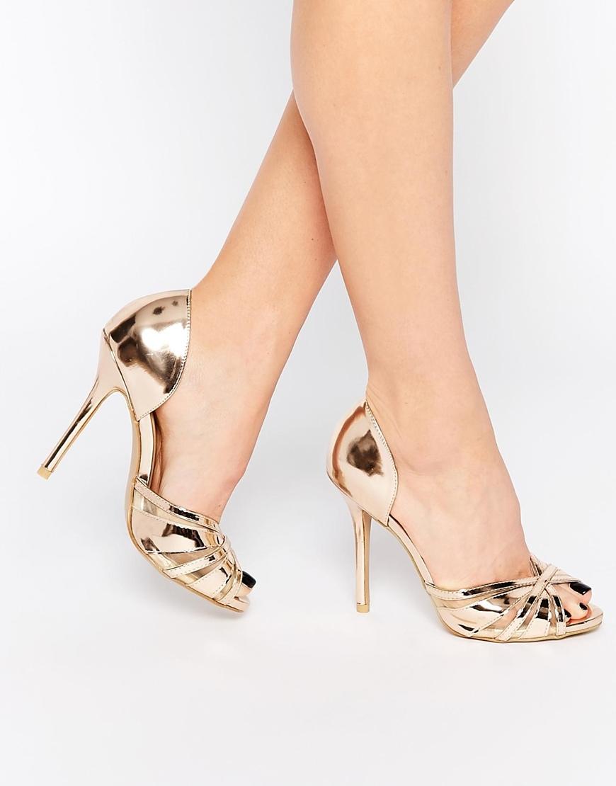 1c69685b53f6ae Lyst - True Decadence Rose Gold Metallic Heeled Peep Toe Sandals in ...