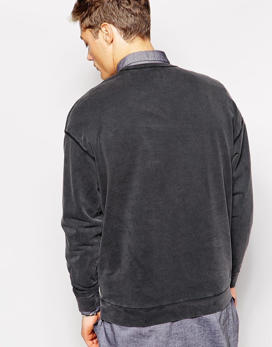 Asos Oversized Sweatshirt With Acid Wash In Gray For Men