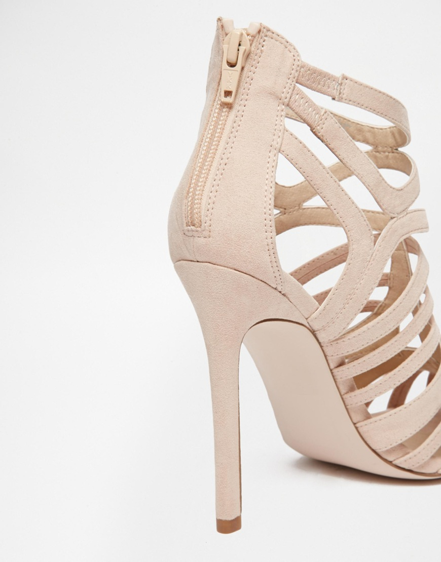 45e44661a7f Lyst - ASOS Elko Caged High Heels in Natural