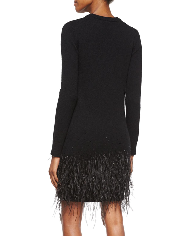 Michael kors Long-sleeve Feather-hem Dress in Black   Lyst