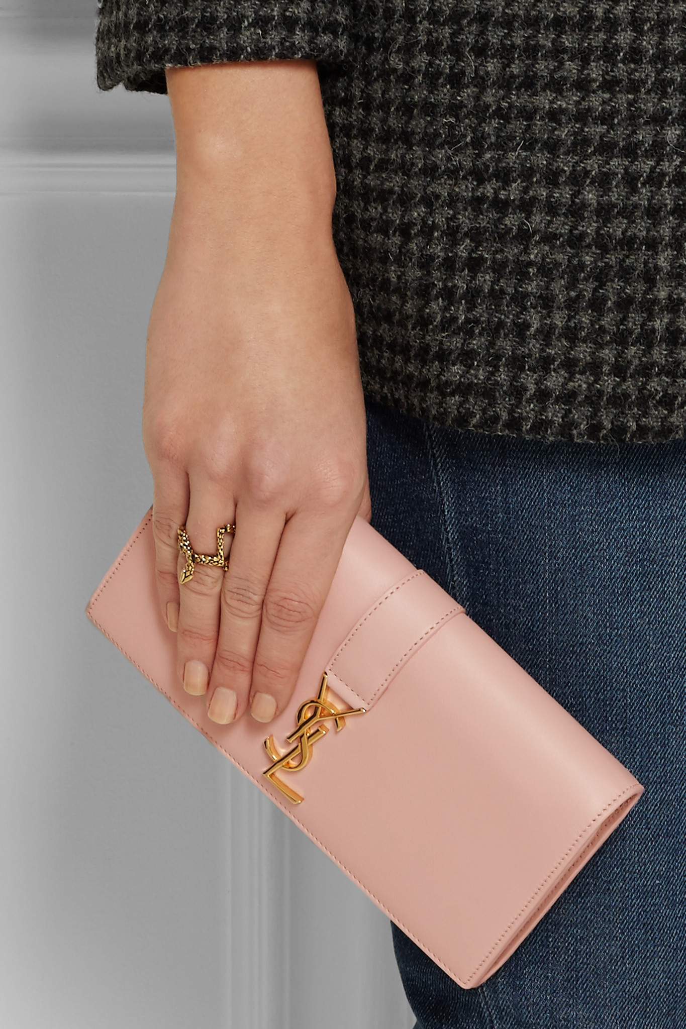 yves saint laurent wallets - Saint laurent Ysl Line Leather Wallet in Pink (Blush) | Lyst