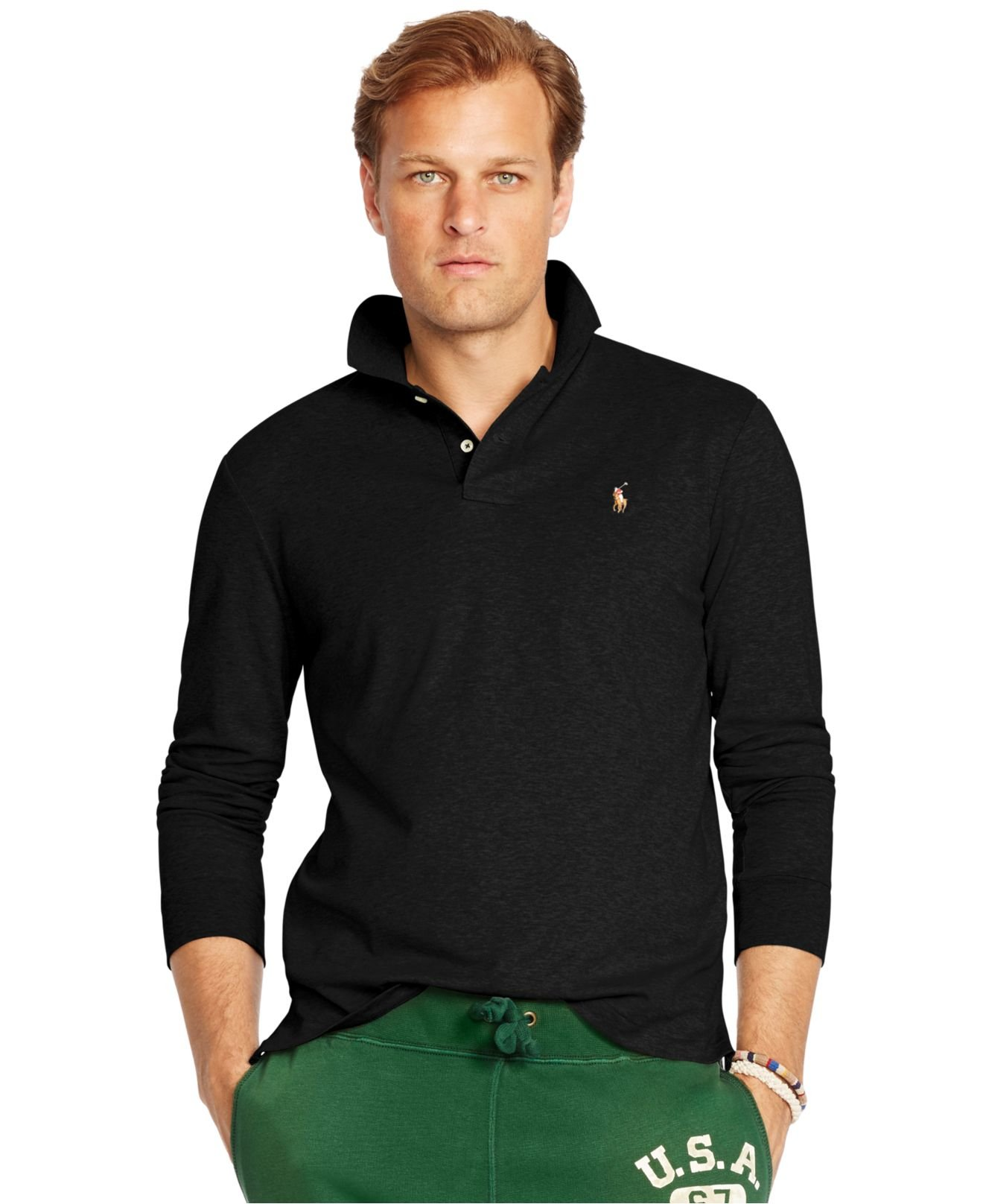 Lyst polo ralph lauren big and tall long sleeved pima for Big and tall long sleeve shirts