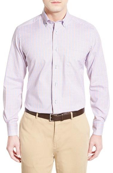 David Donahue Regular Fit Plaid Sport Shirt In Purple For