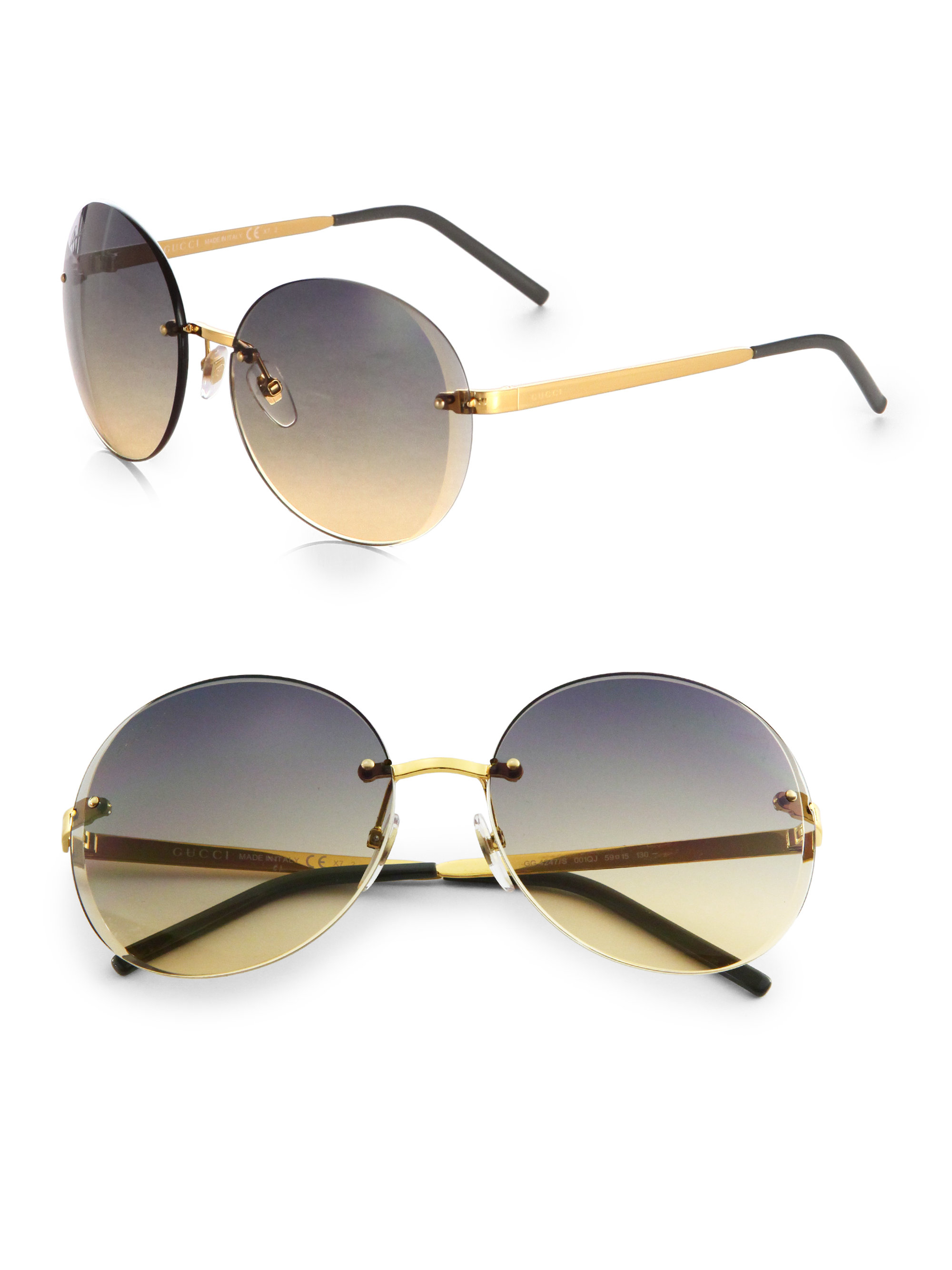 Oversized Gold Frame Sunglasses : Gucci Rimless Oversized Round Sunglasses in Metallic Lyst