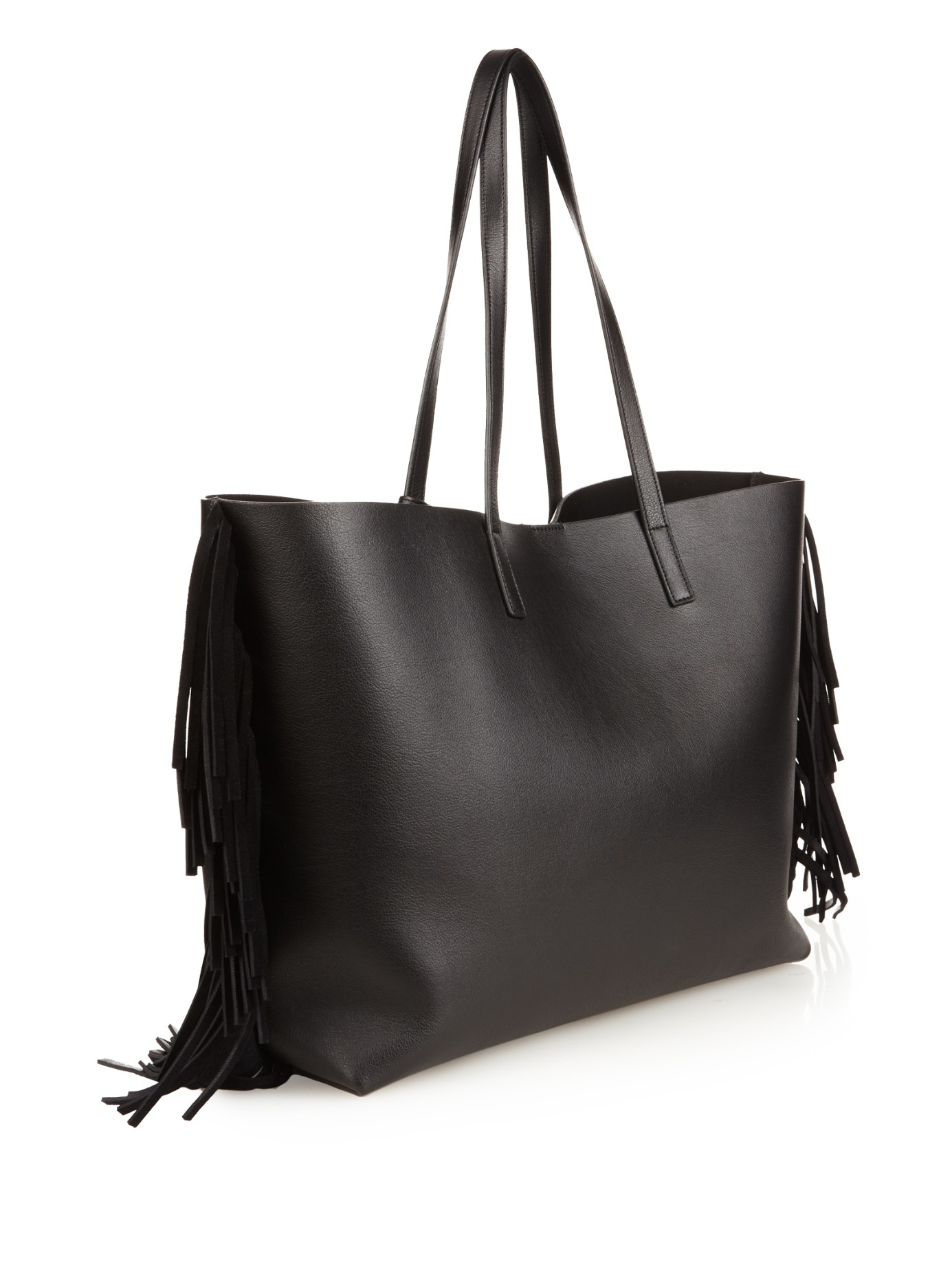 college handbag - Saint laurent Large Fringed Leather Shopping Bag in Black | Lyst