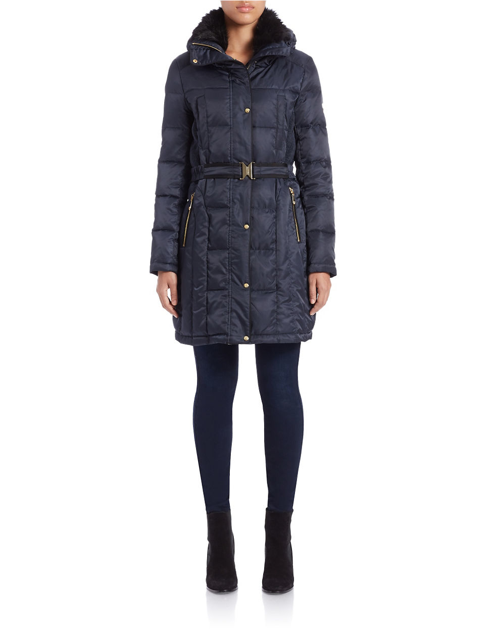 Vince Camuto Faux Fur Collared Quilted Coat In Blue Navy