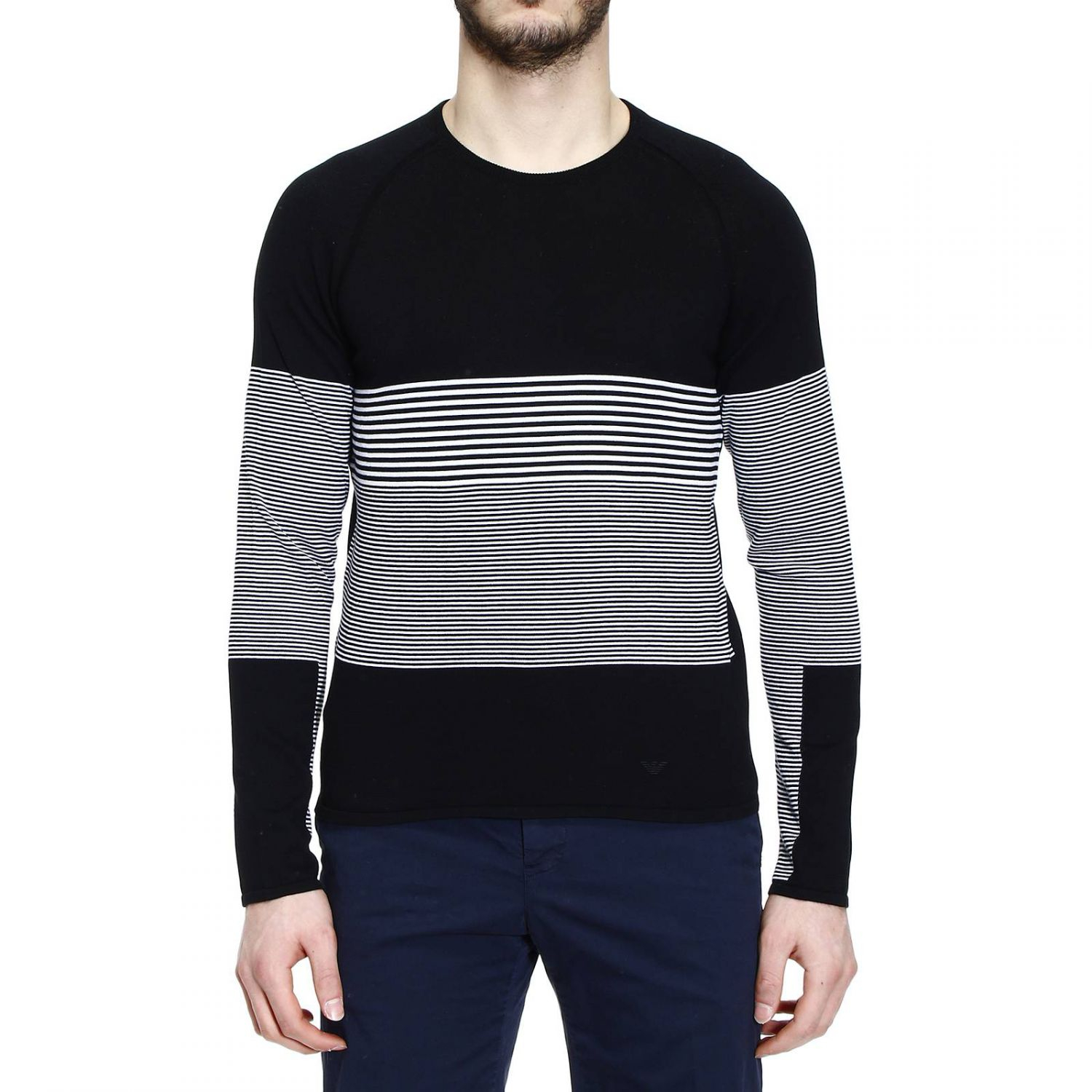 emporio armani sweater knit crew neck with contrast lines. Black Bedroom Furniture Sets. Home Design Ideas