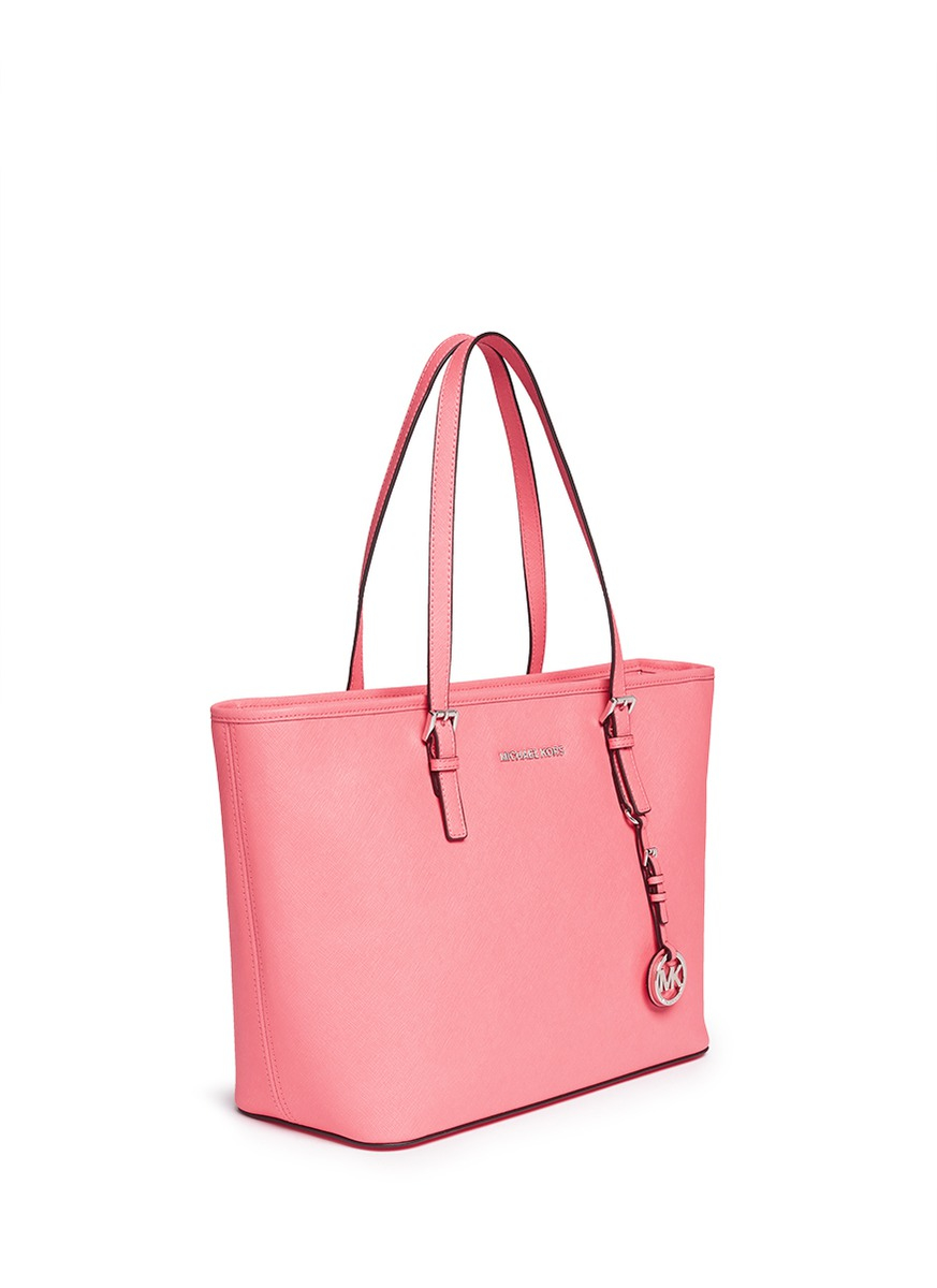 Lyst - Michael Kors  jet Set Travel  Saffiano Leather Top Zip Tote in Pink 100dcb73d5fff