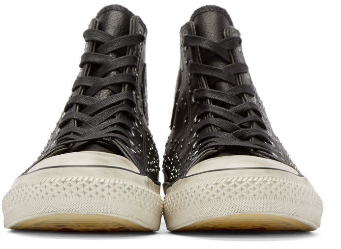 Lyst Converse Black Leather Studded High Top In White