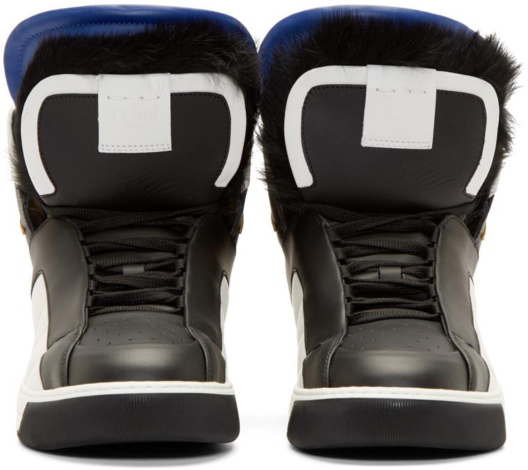 e800ac7cbe35 Fendi Black Fur Bugs High-top Sneakers in Black for Men - Lyst