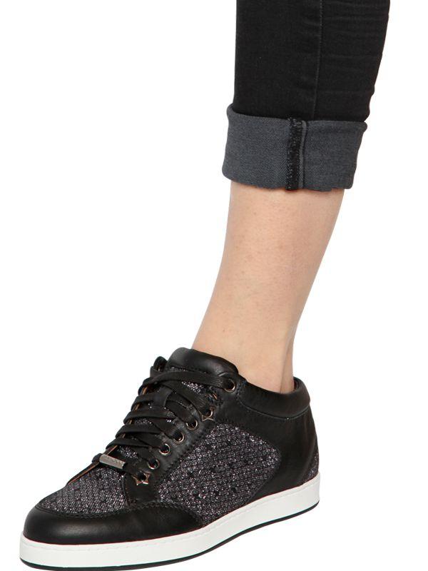 e548c8c2b2d Lyst - Jimmy Choo Miami Glittered Leather Sneakers in Black
