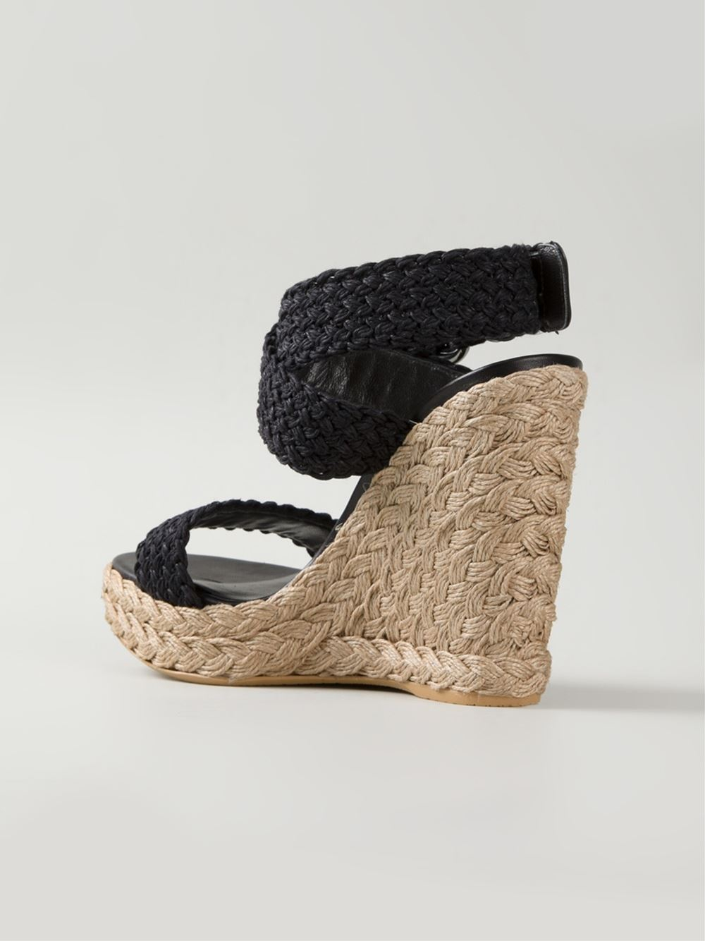 Lyst Stuart Weitzman Woven Wedge Sandals In Black