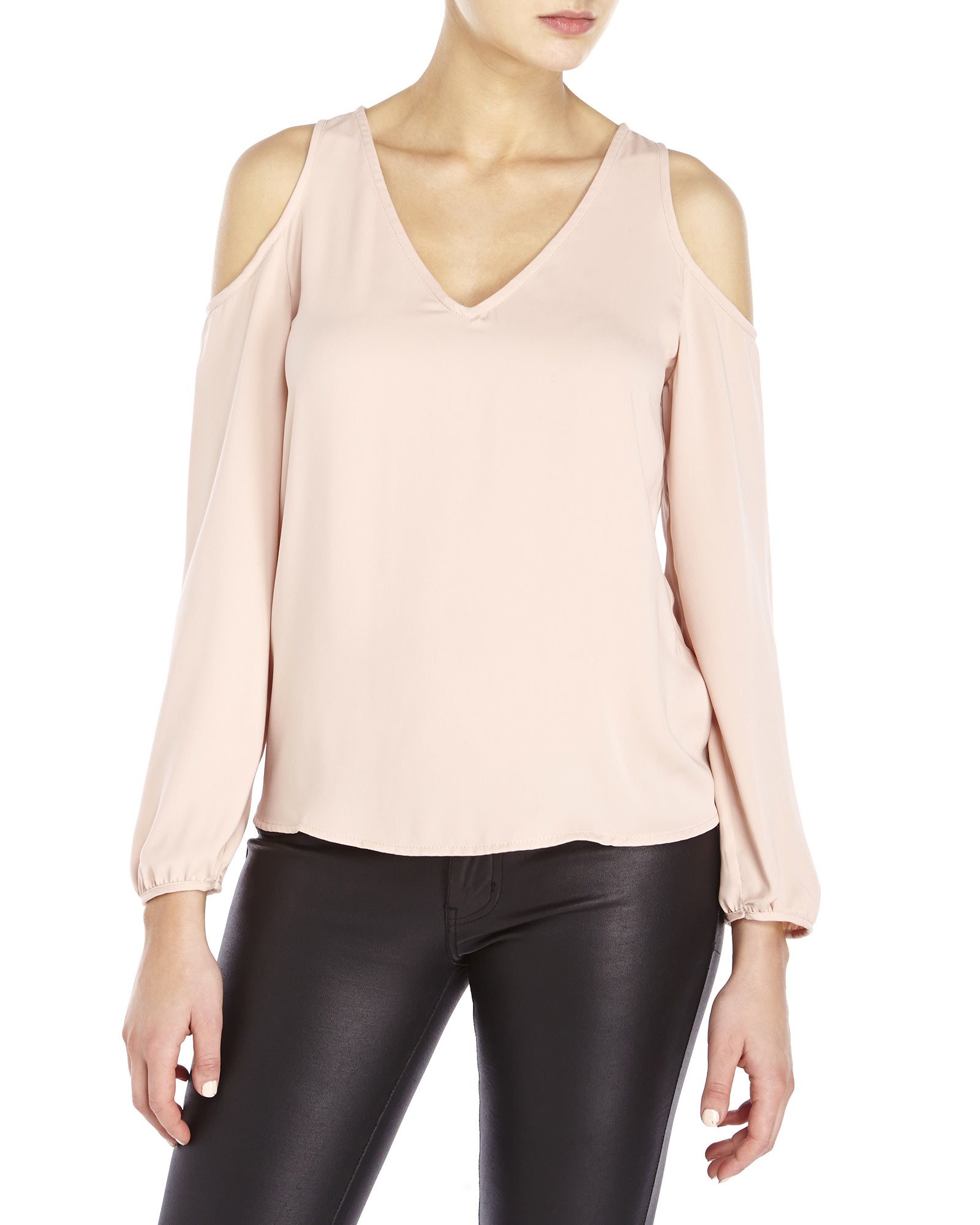 a41b957216694 Lyst - Naked Zebra Cold Shoulder Woven Top in Pink