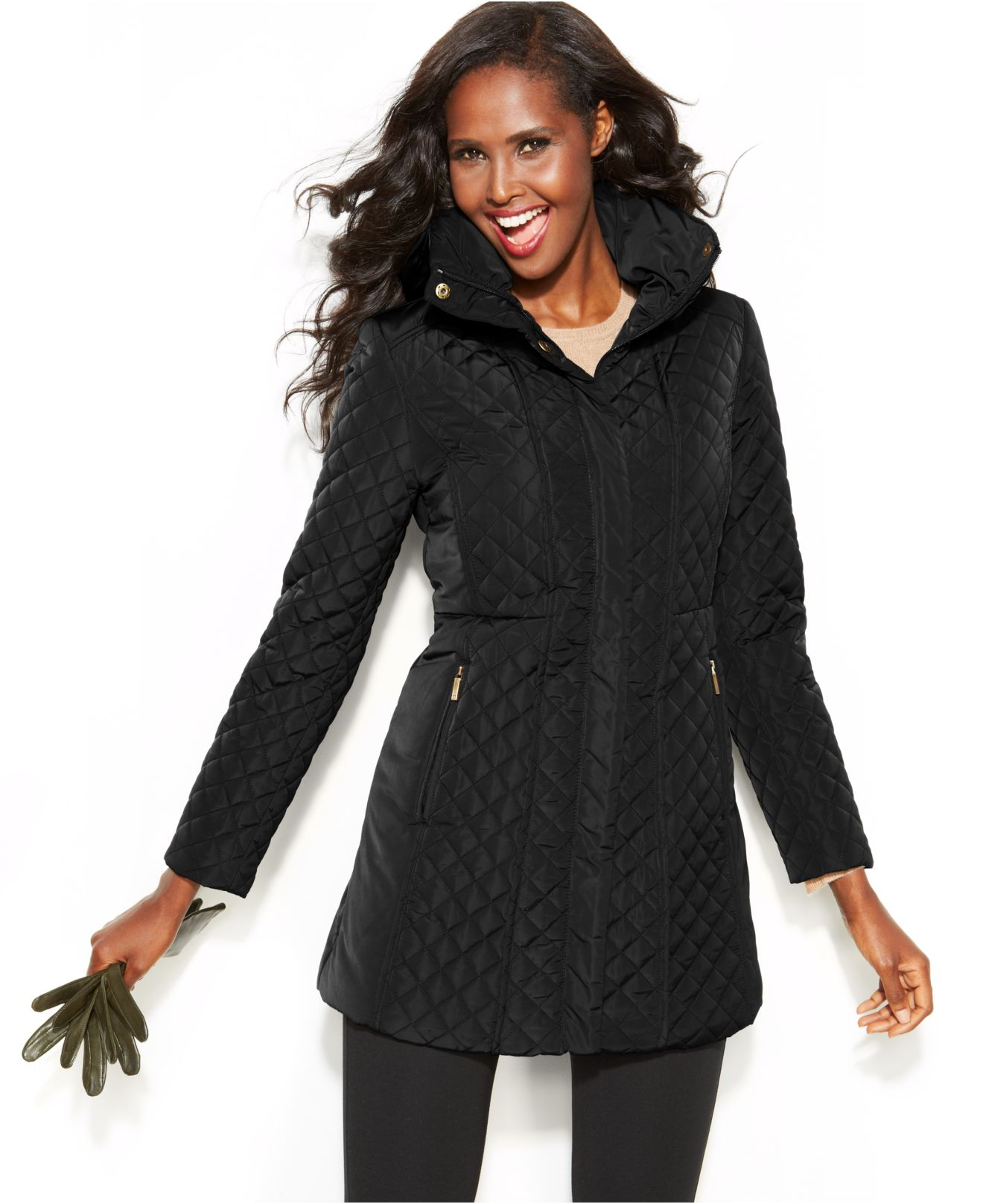 Jones New York Hooded Quilted Jacket In Black Lyst